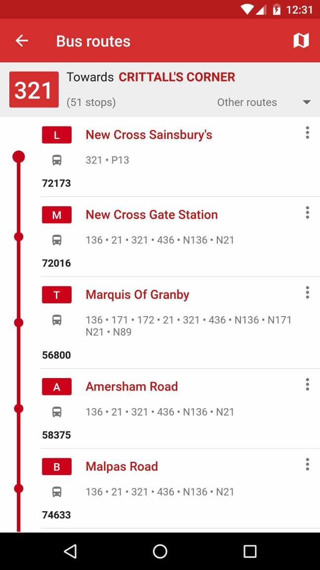 Bus route stops